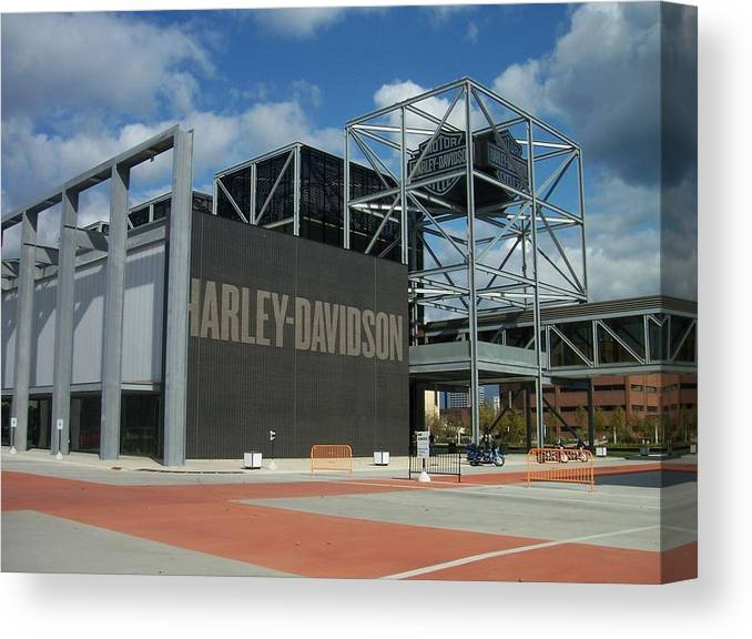 Canvas Print featuring the photograph Harley Museum by Anita Burgermeister