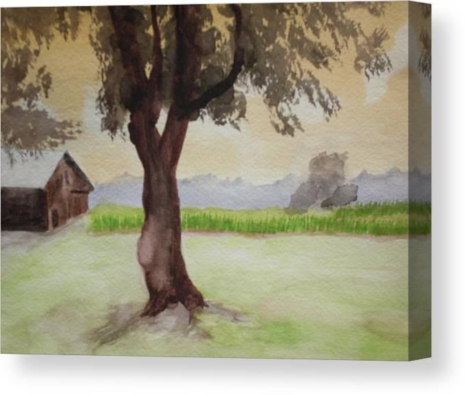 Landscape Canvas Print featuring the painting Hatch Farm Alto Michigan by Warren Thompson