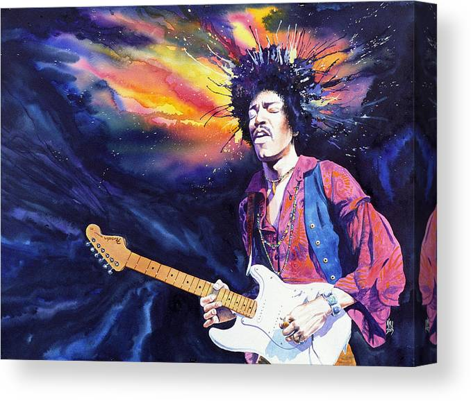 Jimi Hendrix Canvas Print featuring the painting Hendrix by Ken Meyer jr