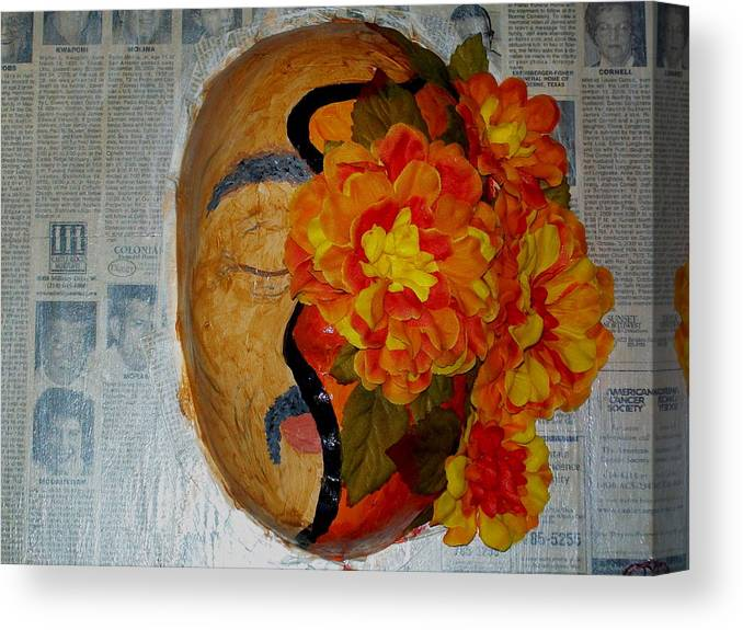 Mask Canvas Print featuring the painting Homage Two by Laurette Escobar