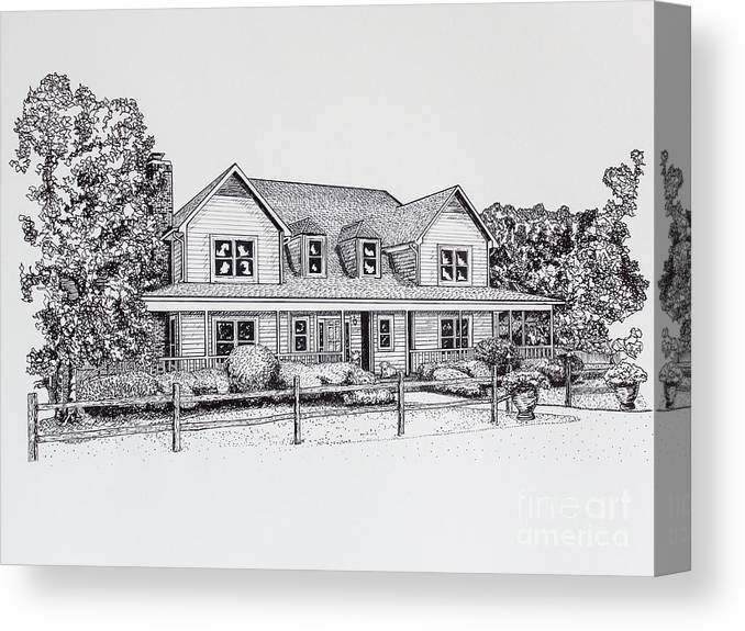 Home Canvas Print featuring the drawing Summer Villa 2015 by Robert Yaeger
