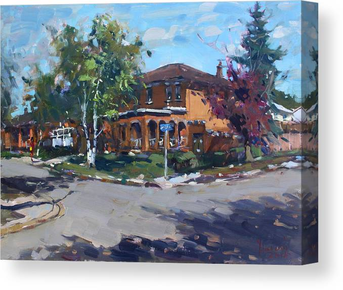 House Canvas Print featuring the painting House At Goldmar Dr Mississauga On by Ylli Haruni