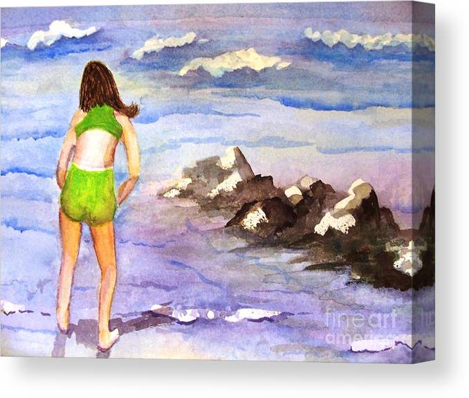 Canvas Print featuring the painting Hunting For Pollywogs by Sandi Stonebraker