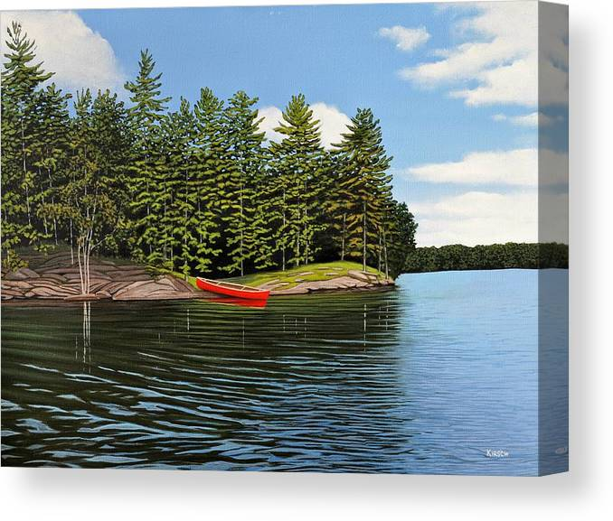 Island Canvas Print featuring the painting Island Retreat by Kenneth M Kirsch
