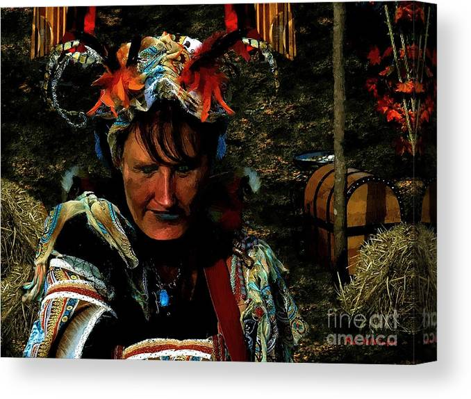 Jester Canvas Print featuring the painting Jester Somnolent by RC DeWinter