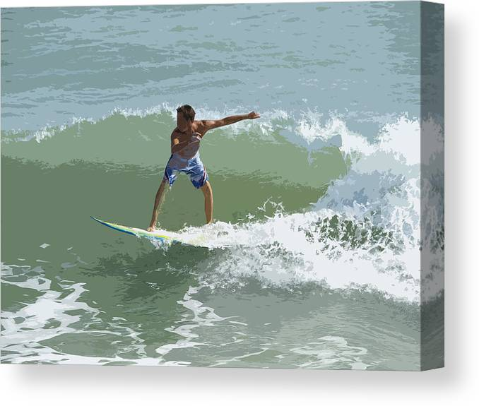 Surf Canvas Print featuring the painting Joy Of Surfing One by Allan Hughes