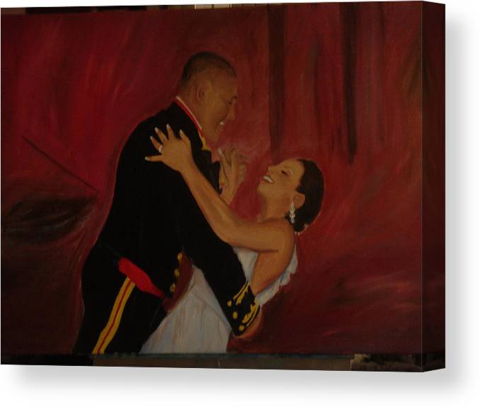 Marine Canvas Print featuring the painting Just Married by Regina Walsh