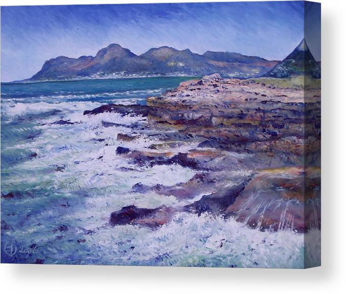 Kalk Bay South Africa Canvas Print featuring the painting Kalk Bay And Fish Hoek Cape Town South Africa 2006 by Enver Larney
