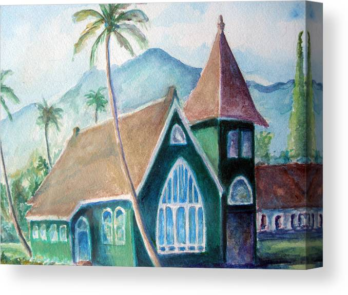 Canvas Print featuring the painting Kauai Church by Mike Segura