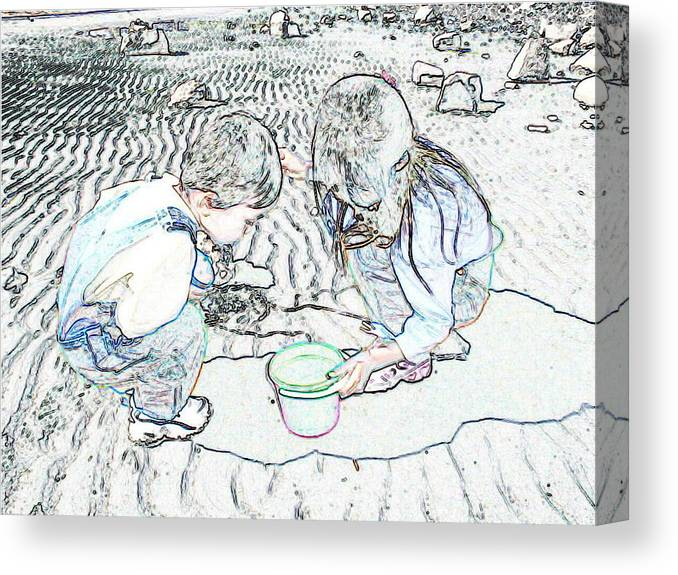Kids On The Beach Canvas Print featuring the digital art Kids On The Beach by Ming Yeung