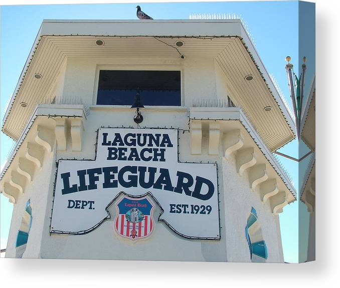 Laguna Beach Canvas Print featuring the photograph Laguna Beach Lifeguard Tower by John Loyd Rushing