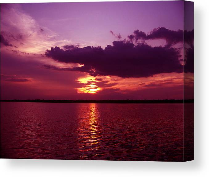 Sunset Photography Canvas Print featuring the photograph Lake Sunset by Evelyn Patrick