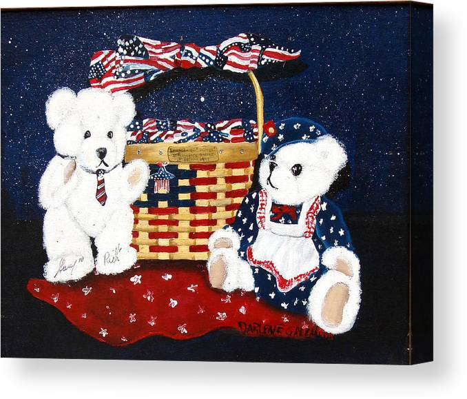Teddy Bears Canvas Print featuring the painting Let Us Celebrate by Darlene Green