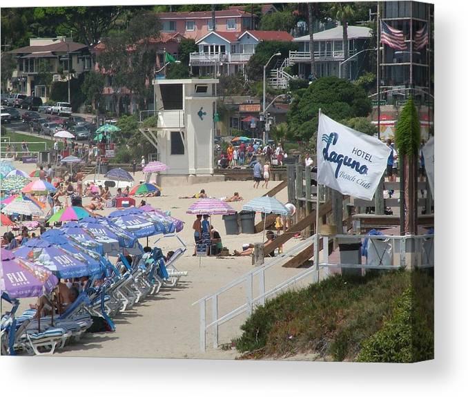 Laguna Beach Canvas Print featuring the photograph Lifeguard Tower Laguna by John Loyd Rushing