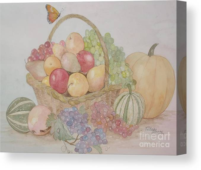Wicker Fruit Basket Canvas Print featuring the painting Life's A Banquet by Patti Lennox