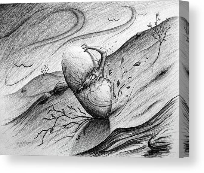 Egg Canvas Print featuring the drawing Like A Rolling Egg by Michael Morgan