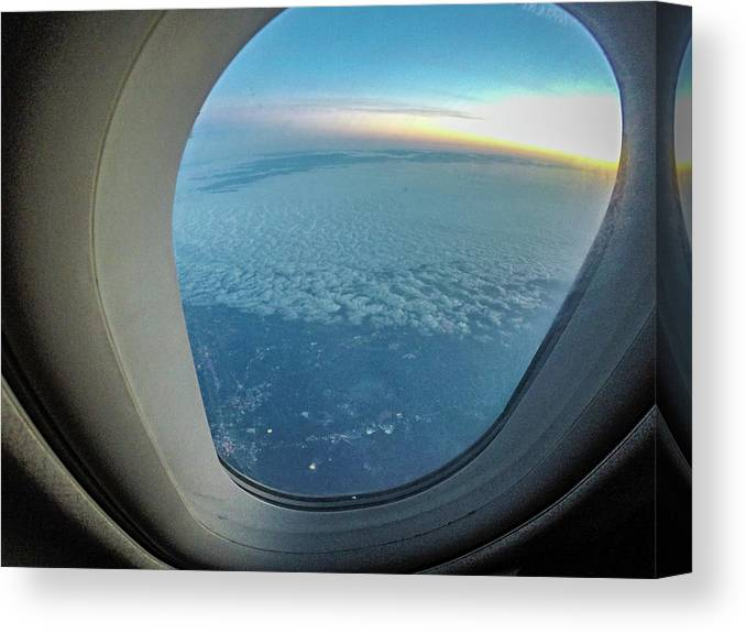 View Canvas Print featuring the photograph Looking Out Of Airplane Window During Flight by Alex Grichenko