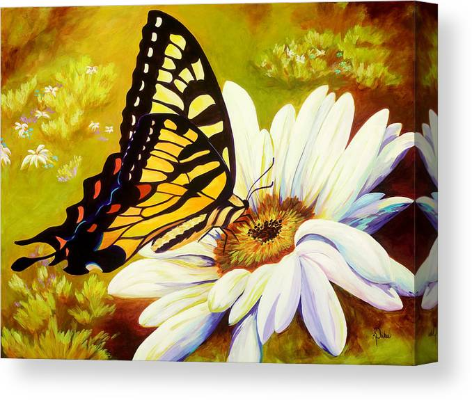 Butterfly Canvas Print featuring the painting Madame Butterfly by Karen Dukes