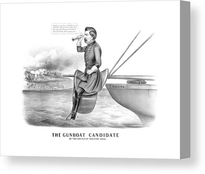 George Mcclellan Canvas Print featuring the drawing Mcclellan The Gunboat Candidate by War Is Hell Store