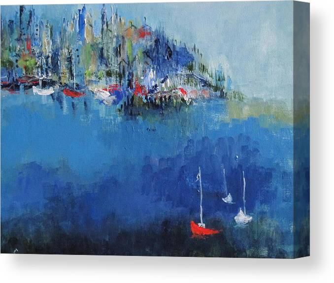 Sailboats Canvas Print featuring the painting Metropolis by Les Smith