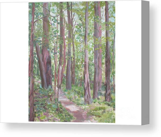 Pathway Canvas Print featuring the painting Moon Lake Pathway by Hal Newhouser