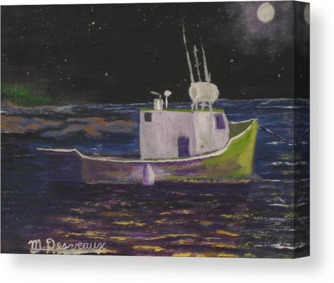 Boat Canvas Print featuring the painting Moon Lit Night by Marshall Desveaux