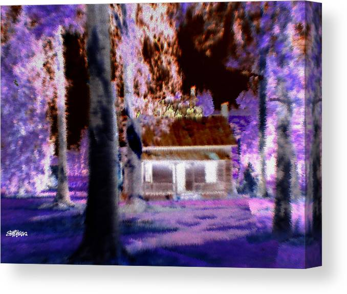 Cabin Canvas Print featuring the digital art Moonlight Cabin by Seth Weaver