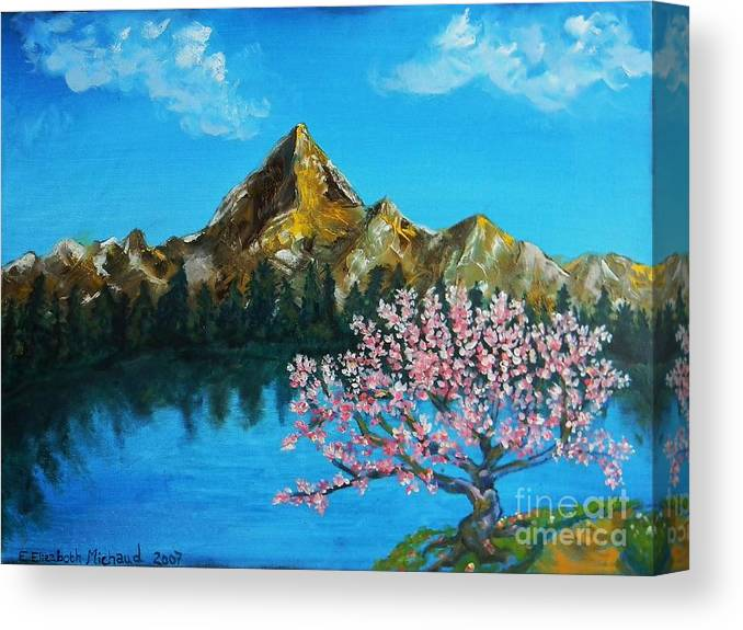 Mountain Canvas Print featuring the painting Mountain And Pink Tree by Emily Michaud