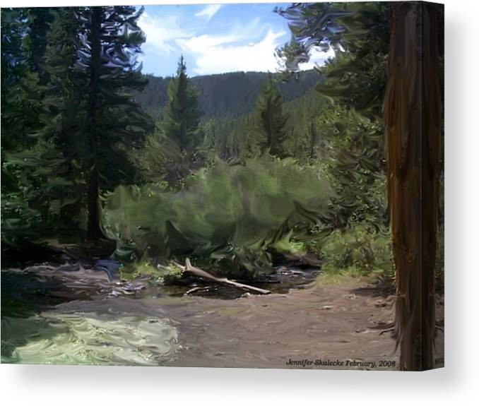 Mountain Stream Canvas Print featuring the digital art Mountain Stream by Jennifer Skalecke