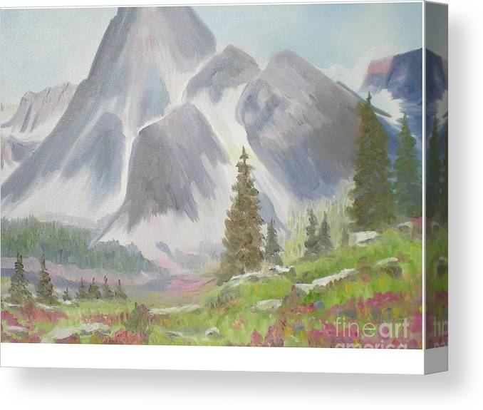 Landscape Canvas Print featuring the painting Mountains And Meadows by Hal Newhouser