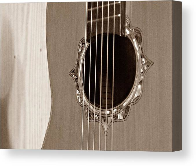 Guitar Canvas Print featuring the photograph Mounted 6 String by Steve Cochran