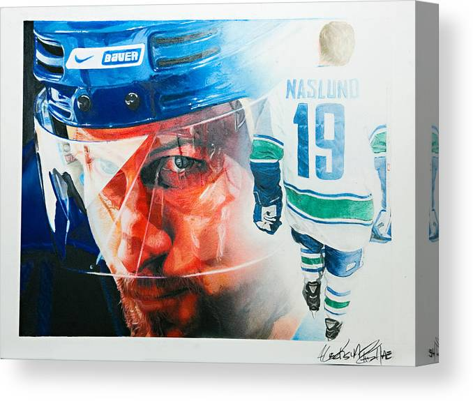 Hockey Canvas Print featuring the painting Naslund by Raymond Potts