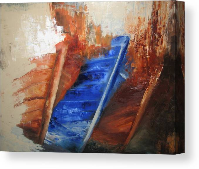 Boats Canvas Print featuring the painting 'near The Shore' by Marina Harris
