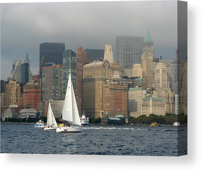New York Harbor Canvas Print featuring the photograph New York Harbor by Terese Loeb Kreuzer