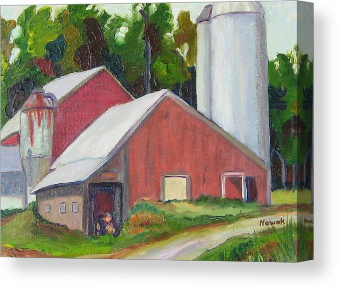 Farm Canvas Print featuring the painting New York State Farm With Silos by Richard Nowak