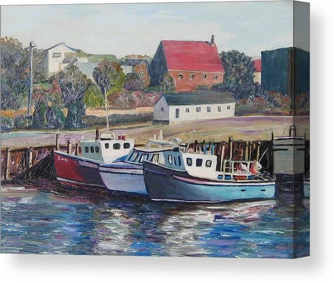 Nova Scotia Canvas Print featuring the painting Nova Scotia Boats by Richard Nowak