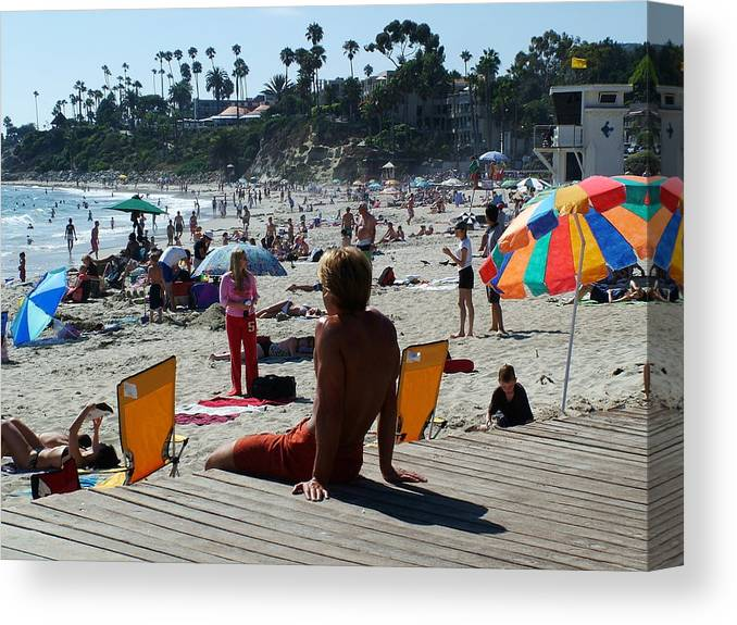 Laguna Beach Canvas Print featuring the photograph Off Duty Lifeguard by John Loyd Rushing