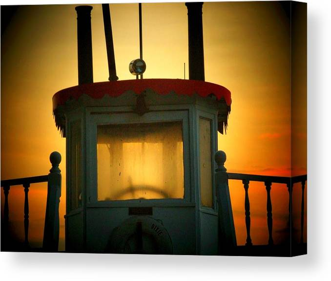Boat Canvas Print featuring the photograph Old Dixie Boat Cab Sunrise by Michael L Kimble