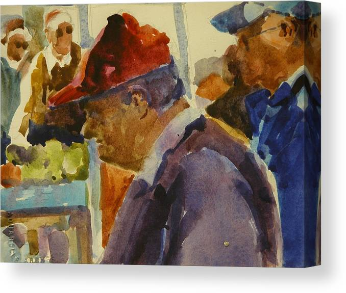 Walt Maes Canvas Print featuring the painting Old Man At The Market by Walt Maes