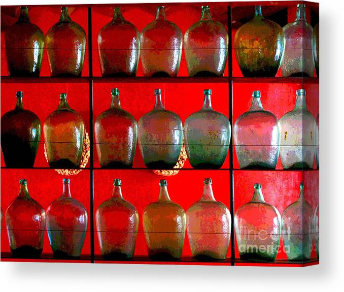 Darian Day Canvas Print featuring the photograph Old Tequila Jugs By Darian Day by Mexicolors Art Photography