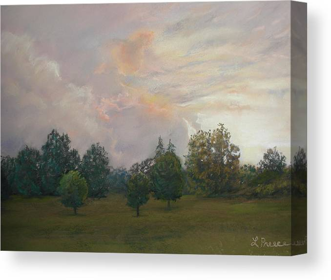 Sunset Canvas Print featuring the pastel One Magnificent Evening by Linda Preece