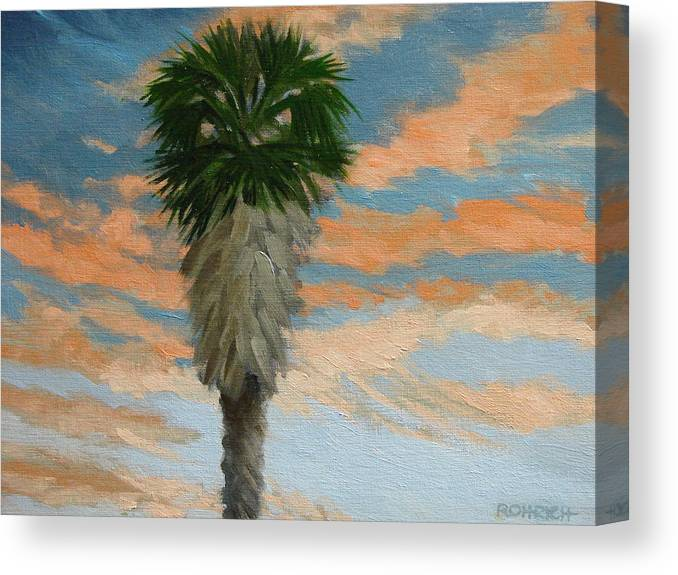 Landscape Canvas Print featuring the painting Palm Sunrise by Robert Rohrich