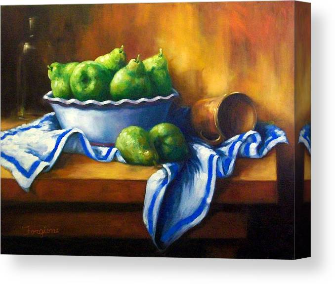Pears Canvas Print featuring the painting Pears In A Bowl by Tom Forgione