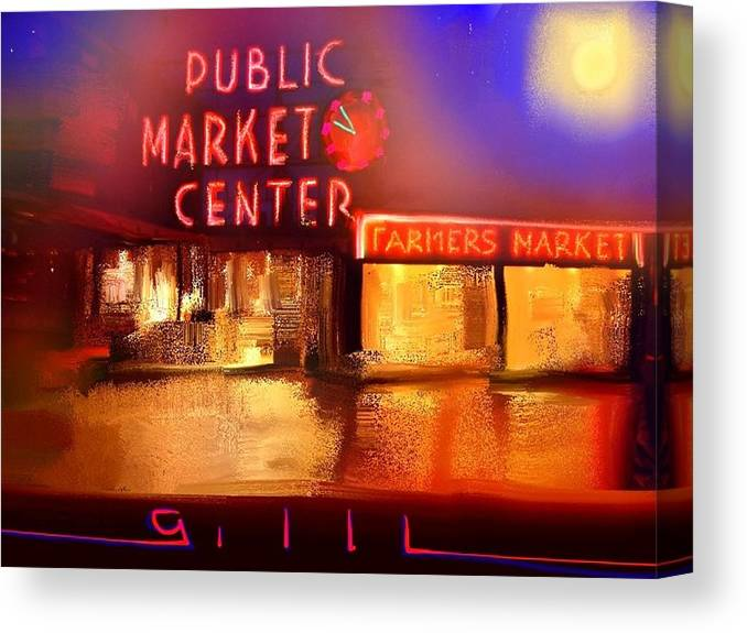 Seattle Canvas Print featuring the painting Pike Place Market by Lee Gallaher