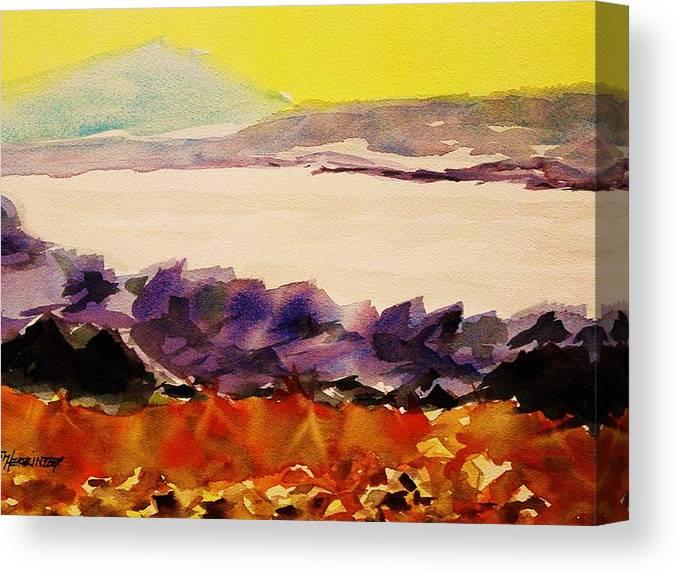 Pinnacle Mountain Canvas Print featuring the painting Pinnacle Mountain...arkansas River by Tom Herrin