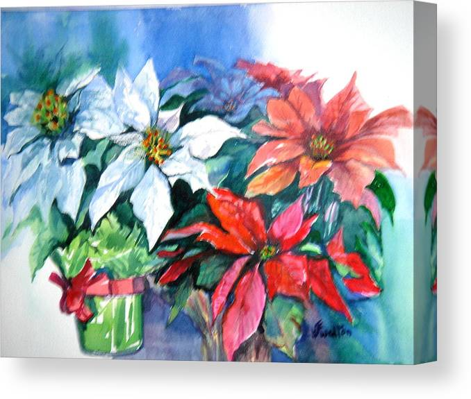 Poinsettias Canvas Print featuring the painting Poinsettia Gifts by Judy Fischer Walton