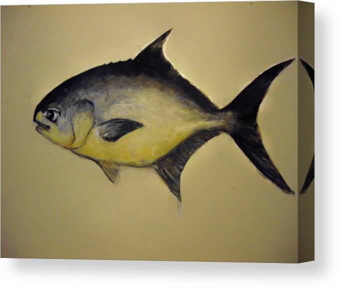 Pompano Fish Canvas Print featuring the painting Pompano by Robert Cunningham