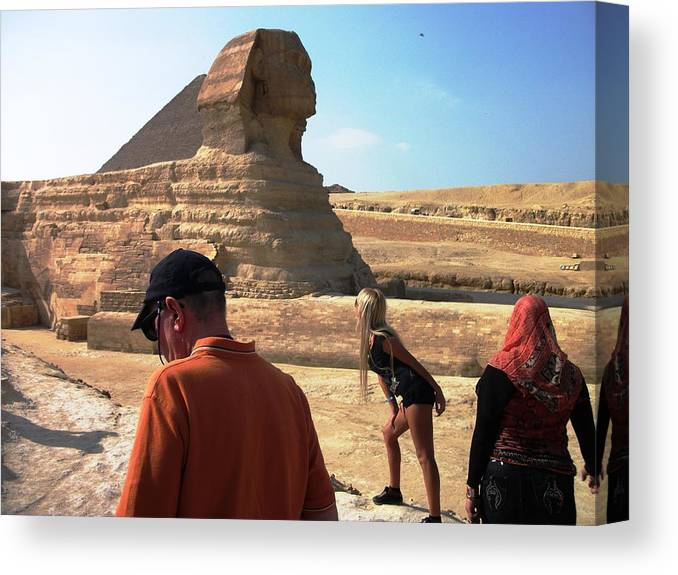 Photography Canvas Print featuring the photograph Posing With Sphinx by Piety Dsilva