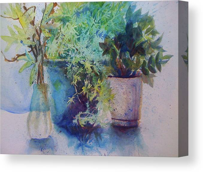 Plant Canvas Print featuring the painting Potted Plant Study by Julie Morrison