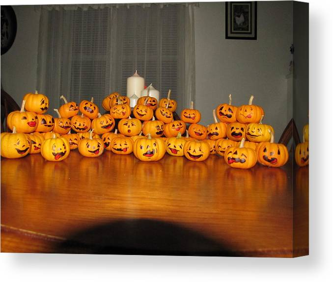 Pumpkins Canvas Print featuring the photograph Pumpkins by Michael TMAD Finney